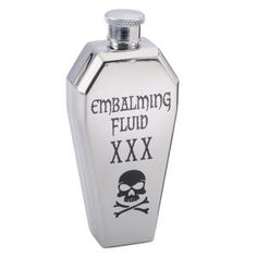 """Nibbled, Not Stirred Where does Drac store his favorite tipple? In a classic, coffin-shaped flask like this one, crafted in eerily printed stainless steel. Twist-off cap. Hand wash. 4½"""" long; holds 4 oz."""