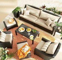 We love this mix of brown, beige and orange! A statement patio rug really brings the ensemble together. Indoor Outdoor Rugs, Outdoor Decor, Patio Accessories, Canada Shopping, Patio Rugs, Online Furniture, Home Decor Inspiration, Mattress, Outdoor Furniture Sets
