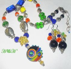 Lampwork Necklace Colorful Lampwork Necklace by hhjewelrydesigns, $60.00
