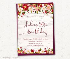 Woman Spring Birthday Invitation, Floral Invitation, PRINTABLE, Red and Pnk Floral Invite, Adult, Rustic, 30th, 40th, 50th, 60th, 70th, 80th