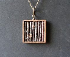 Square Collections- Real Twig Necklace in Genuine Wooden Square Bezel