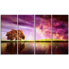 DesignArt 'Magic Night with Colorful Clouds' 4 Piece Graphic Art on Wrapped Canvas Set
