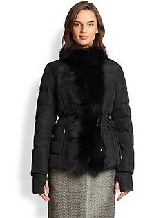 Weekend Max Mara Albi Fur-Trim Belted Puffer