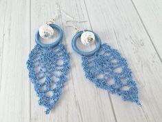 Blue Lightweight Drop Earrings Dangle Crochet by SandyCraftUK