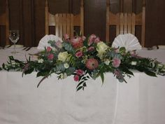 Top table arrangement of Protea, Roses & Lisianthus for a wedding at Hertford College, Oxford. By Myrtle & Smith. Table Arrangements, Floral Arrangements, Wedding Events, Wedding Ideas, Weddings, Hampton Court House, King Protea, Myrtle, Perfect Wedding