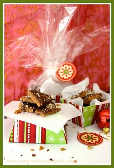 Christmas Toffee is a delicious tradition at our house plus a cute neighbor gift too! by whatscookingwithruthie.com #recipes #toffee