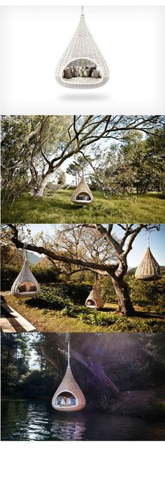 Tree house/couch/hammock hyrbid. Wouldn't it be awesome to sit in this thing all day reading a book?