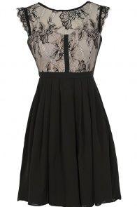 Easily Enchanted Black and Beige Eyelash Lace Dress