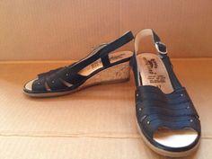 """Spring Step Black Leather Sling Back Cork Wedge Sandals """"Devon"""" 6.5/7 (37) #SpringStep #Slingbacks"""