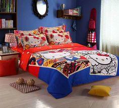 Hello Kitty Bedding Set Children Cotton Bed sheets Hello Kitty Duvet Cover Bed sheet Pillowcase, 3-4pcs Twin/Queen