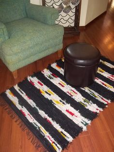 Pendleton Wool Rug Handwoven Black and Stripe 33x53...via Etsy. ~I think this would look nice with Southwestern Decor...