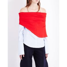 Jacquemus La Chemise cotton and knitted top (£270) ❤ liked on Polyvore featuring tops, red top, off shoulder tops, long sleeve shirts, button-down shirt and off shoulder long sleeve top