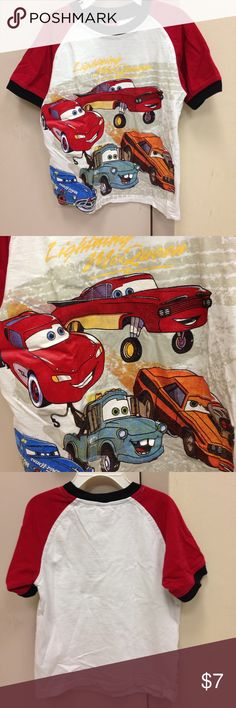 🌴NEW LISTING🌴 Disny Pixar Cars T-Shirt White, red and black.  100% cotton. Size 4T. (7/23) Disney Shirts & Tops Tees - Short Sleeve