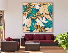 CANVAS VOOR BUITEN JUNGLE Abstract seamless pattern with colorful tropical leaves and flowers on a pastel background. Vector design. Jungle print.