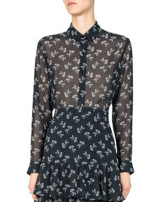 Bloom Sheer Floral-Print Shirt by The Kooples