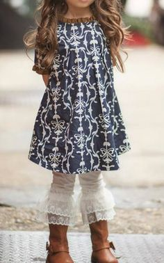 Love the top for my niece.Persnickety Clothing - Lace Ruffle Leggings - Ivory - Golden Girls **IN STOCK** Little Girl Fashion, Little Girl Dresses, Toddler Fashion, Kids Fashion, Flower Girl Dresses, Young Fashion, Look Fashion, My Baby Girl, Girly Girl