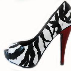 Hand Painted Zebra Leather Peep toe by Lauren Luna Ltd. by Lauren Luna Ltd