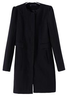 Abrigo de lana cremallera bolsillos manga larga-Negro EUR€31.30