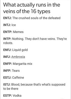 MBTI - What runs in their veins Infj Mbti, Intj And Infj, Estj, Introvert, Infp T Personality, Myers Briggs Personality Types, Bullet Journal Inspo, Mbti Charts, Infj Type
