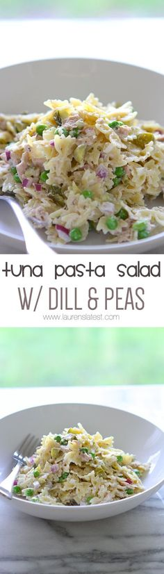 Pasta Salad Tuna Pasta Salad with Dill and Peas. My kids absolutely loved this! Definitely making it again.Tuna Pasta Salad with Dill and Peas. My kids absolutely loved this! Definitely making it again. Tuna Salad Pasta, Pasta Salat, Pasta Salad Recipes, Seafood Recipes, New Recipes, Cooking Recipes, Healthy Recipes, Dishes Recipes, Recipes Dinner
