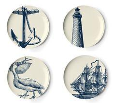 Nautical dessert plates.