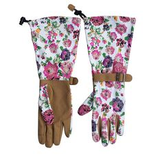 Womanswork 715 Womens Garden Gloves Floral Long Sleeve Arm Protection Gauntlet #Womanswork
