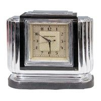 Art Deco Chrome and Bakelite Table Top Clock by Manning - Bowman