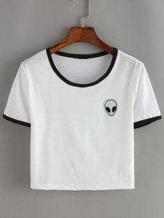 Online shopping for White Contrast Alien Print Crop T-Shirt from a great selection of women's fashion clothing & more at MakeMeChic.COM.