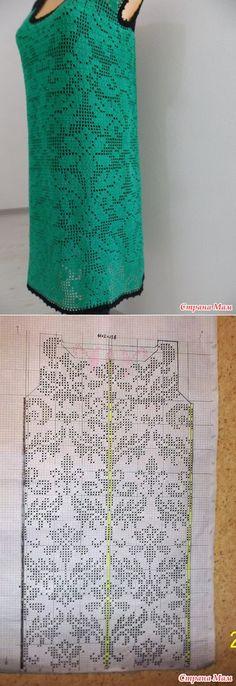 Платье-сарафан цвета изумруд, филейное вязание+мотивы