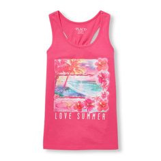 Girls Matchables Sleeveless Glitter Tropical Graphic Racer-Back Tank Top - Pink - The Children's Place