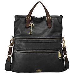 £199 at john lewis - seems perfect for school -Fossil Explorer Tote Handbag, Black Online at johnlewis.com