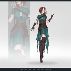 (CLOSED) Adoptable Outfit Auction 306 by JawitReen, green and brown, earth outfit Anime Outfits, Cool Outfits, Dress Drawing, Drawing Clothes, Character Outfits, Character Art, Arte Fashion, Fantasy Dress, Fantasy Outfits