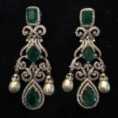 Diamond Jewelry Inches Long Green and White Zircon Earrings made in Silver - Diamond Earrings Indian, Diamond Chandelier Earrings, Emerald Earrings, Emerald Jewelry, Women's Earrings, Diamond Jewelry, Diamond Necklaces, Silver Jewelry, Diamond Studs