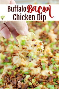 Traditional cream cheese chicken dip brought to a whole new level with bacon!Buffalo Bacon Chicken Dip is a game-day perfect crowd pleasing favorite. Easy to make and bring to all the parties. Chicken Snacks, Chicken Bacon, Chicken Recipes, Recipe Chicken, Easy Appetizer Recipes, Best Dinner Recipes, Healthy Appetizers, Party Recipes, Dip Recipes