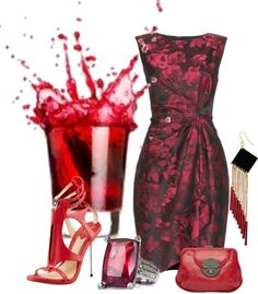 """""""Red Cocktail"""" by bellamonica ❤ liked on Polyvore"""