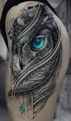 50 of the most beautiful owl tattoo designs and their meaning for the next . - 50 of the most beautiful owl tattoo designs and their meaning for the night animal in you – stunn - Eagle Tattoos, Wolf Tattoos, Animal Tattoos, Anchor Tattoos, Bird Tattoos, Feather Tattoos, Nature Tattoos, Black Owl Tattoo, Mens Owl Tattoo