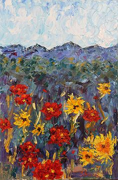 "Daily Painters Abstract Gallery: Palette Knife Impressionism Landscape Flower Painting ""Poppies"" by Colorado Impressionist Judith Babcock"