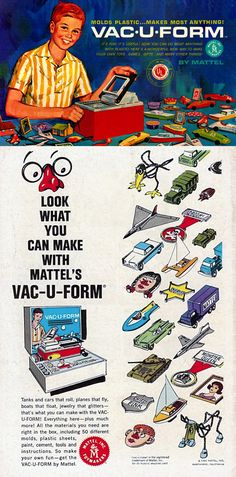 Mattel's Vac-U-Form, based on the industrial process of vacuum forming, transformed a sheet of plastic clamped in a holder and heated over a metal plate. This was one of my favorite toys as a kid, even though it usually resulted in severe burns!