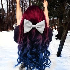 Red and blue ombre hair