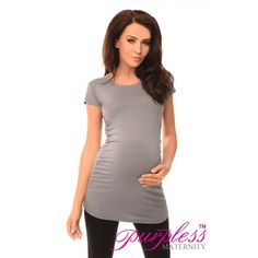 Top T-Shirt 5010 Gray Very stretchy and soft material fits all type of figures. Short sleeves. Ruching on both sides creating lots of space for growing bump. Functional and comfortable, can be worn during and after pregnancy. This top is not only functional, it looks great as well.