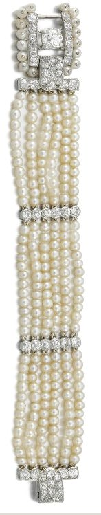 Diamond and pearl bracelet. Cartier, 1930's.
