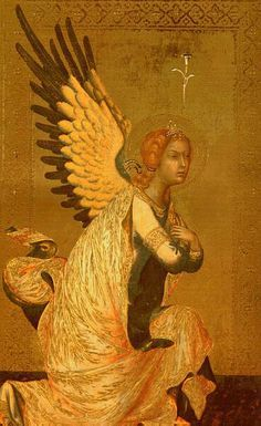 """""""The Angel of the Annunciation"""" (detail) by Fra Angelico"""
