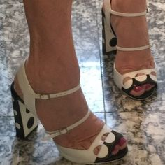 """FENDI HEELS Black & White Sandal. 4 1/2"""" Heel. Excellent condition. Clean w/ no Marks on Upper Shoe. Only soil on bottom as shown in pics. Worn Once. Like New! Box w/ original wrapping and dust bag included. FENDI Shoes"""