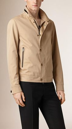 Burberry Honey Packaway Hood Cotton Gabardine Blouson - A cotton gabardine blouson with packaway hood.  Invented by Thomas Burberry in 1879, cotton gabardine is a tightly woven, weatherproof fabric that protects against the elements.  Discover the men's outerwear collection at Burberry.com