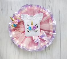 Unicorn Birthday Outfit, Pink Ribbon Skirt Summer Outfit for Girls Party Kids Birthday Outfit Unicorn Themed Birthday Party, Birthday Tutu, Third Birthday, Unicorn Birthday Parties, Unicorn Party, Birthday Party Themes, Birthday Kids, Cake Birthday, Unicorn Cake Pops