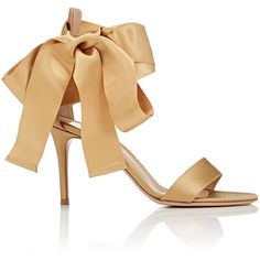 Gianvito Rossi Women's Satin Ankle-Tie Sandals (220.105 HUF) ❤ liked on Polyvore featuring shoes, sandals, evening shoes, heels, gold, high heels sandals, heels stilettos, high heel shoes, heeled sandals and ankle strap sandals