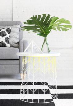 Turn a wire basket into a modern side table with this tutorial.