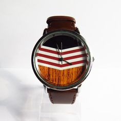 Chevron on Wood Watch Vintage Style Leather Watch by FreeForme, $12.00