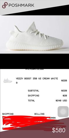 ADIDAS YEEZY V2 CREAM WHITE BRAND NEW No I do not sell fakes.. Please don't waste my time. If you want more proof, I'd be happy to provide it. These are already on the way and will arrive in 2 business days. SIZE 9 in MENS  SIZE 10 in WOMENS Adidas Shoes Sneakers