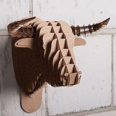 MICRO CARDBOARD SAFARI BULL TORO HEAD faux taxidermy ANIMAL TROPHY wall brown…